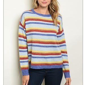 Blue multi stripe crewneck pullover knit sweater🐠